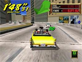 In game image of Crazy Taxi 2 on the Sega Dreamcast.