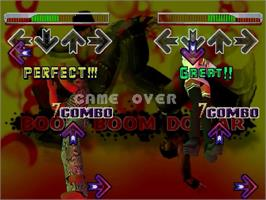 In game image of Dance Dance Revolution 2nd Mix on the Sega Dreamcast.