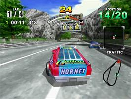 In game image of Daytona USA on the Sega Dreamcast.