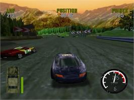 In game image of Demolition Racer: No Exit on the Sega Dreamcast.