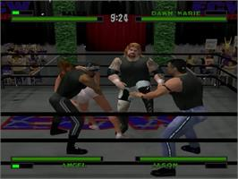 In game image of ECW Anarchy Rulz on the Sega Dreamcast.