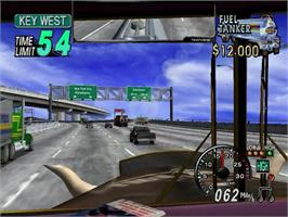 In game image of Eighteen Wheeler: American Pro Trucker on the Sega Dreamcast.