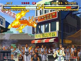 In game image of Fatal Fury: Mark of the Wolves on the Sega Dreamcast.