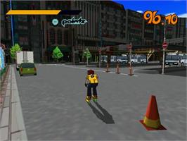 In game image of Jet Grind Radio on the Sega Dreamcast.
