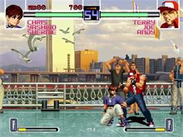 In game image of King of Fighters 2002: Challenge to Ultimate Battle on the Sega Dreamcast.