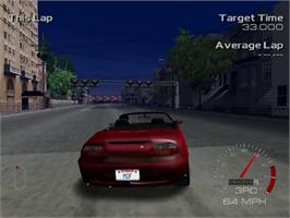 In game image of Metropolis Street Racer on the Sega Dreamcast.