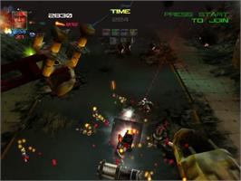 In game image of Millennium Soldier: Expendable on the Sega Dreamcast.