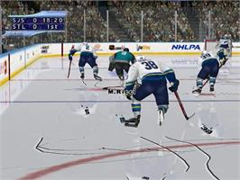 In game image of NHL 2K2 on the Sega Dreamcast.