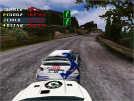 In game image of Need for Speed: V-Rally 2 on the Sega Dreamcast.