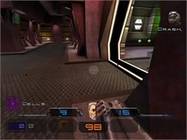 In game image of Quake III: Arena on the Sega Dreamcast.