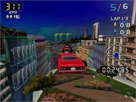 In game image of San Francisco Rush 2049 on the Sega Dreamcast.