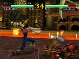 In game image of Soul Calibur on the Sega Dreamcast.