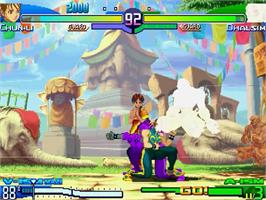 In game image of Street Fighter Alpha 3 on the Sega Dreamcast.