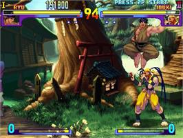 In game image of Street Fighter III: Double Impact on the Sega Dreamcast.