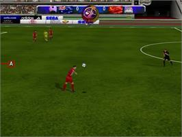 In game image of UEFA Dream Soccer on the Sega Dreamcast.