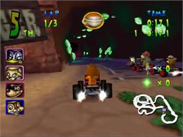 In game image of Walt Disney World Quest: Magical Racing Tour on the Sega Dreamcast.
