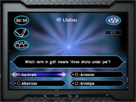 In game image of Who Wants to Be a Millionaire? on the Sega Dreamcast.
