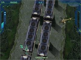 In game image of Zero Gunner 2 on the Sega Dreamcast.