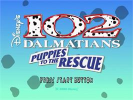 Title screen of 102 Dalmatians: Puppies to the Rescue on the Sega Dreamcast.