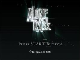 Title screen of Alone in the Dark: The New Nightmare on the Sega Dreamcast.