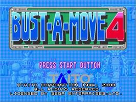 Title screen of Bust a Move 4 on the Sega Dreamcast.