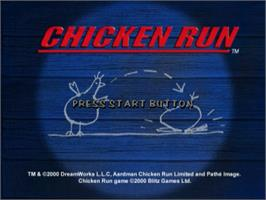 Title screen of Chicken Run on the Sega Dreamcast.