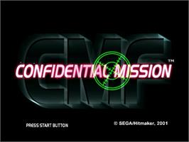 Title screen of Confidential Mission on the Sega Dreamcast.