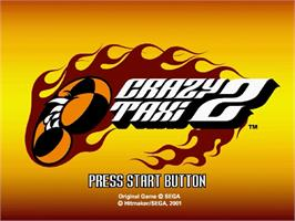 Title screen of Crazy Taxi 2 on the Sega Dreamcast.
