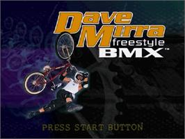 Title screen of Dave Mirra Freestyle BMX on the Sega Dreamcast.