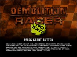 Title screen of Demolition Racer: No Exit on the Sega Dreamcast.