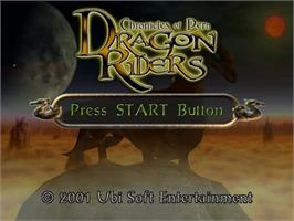 Title screen of Dragonriders: Chronicles of Pern on the Sega Dreamcast.
