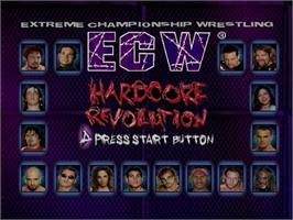 Title screen of ECW Hardcore Revolution on the Sega Dreamcast.