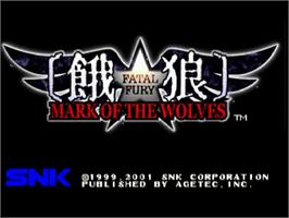 Title screen of Fatal Fury: Mark of the Wolves on the Sega Dreamcast.