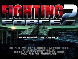 Title screen of Fighting Force 2 on the Sega Dreamcast.