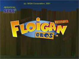 Title screen of Floigan Brothers: Episode 1 on the Sega Dreamcast.