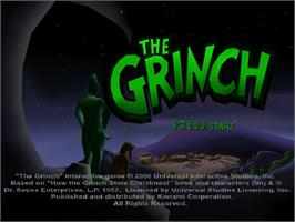 Title screen of Grinch on the Sega Dreamcast.