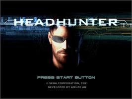Title screen of Headhunter on the Sega Dreamcast.