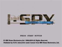 Title screen of Industrial Spy: Operation Espionage on the Sega Dreamcast.