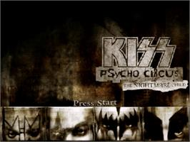 Title screen of Kiss: Psycho Circus - The Nightmare Child on the Sega Dreamcast.