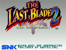 Title screen of Last Blade 2: Heart of the Samurai on the Sega Dreamcast.