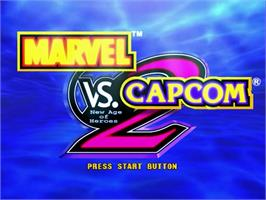 Title screen of Marvel vs. Capcom 2: New Age of Heroes on the Sega Dreamcast.