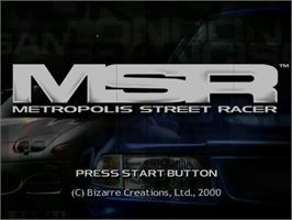 Title screen of Metropolis Street Racer on the Sega Dreamcast.