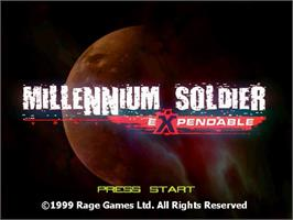 Title screen of Millennium Soldier: Expendable on the Sega Dreamcast.