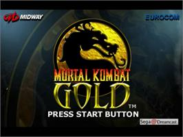 Title screen of Mortal Kombat Gold on the Sega Dreamcast.