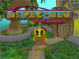 Title screen of Ms. Pac-Man Maze Madness on the Sega Dreamcast.