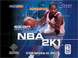 Title screen of NBA 2K1 on the Sega Dreamcast.