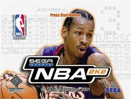 Title screen of NBA 2K2 on the Sega Dreamcast.
