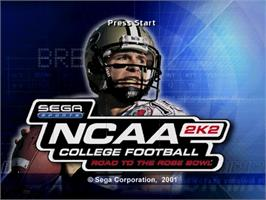 Title screen of NCAA College Football 2K2: Road to the Rose Bowl on the Sega Dreamcast.