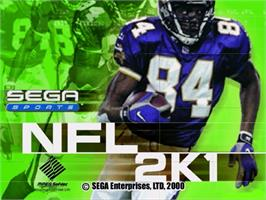 Title screen of NFL 2K1 on the Sega Dreamcast.