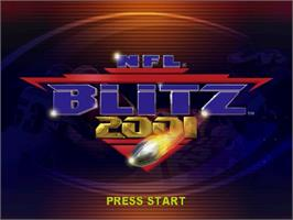 Title screen of NFL Blitz 2001 on the Sega Dreamcast.